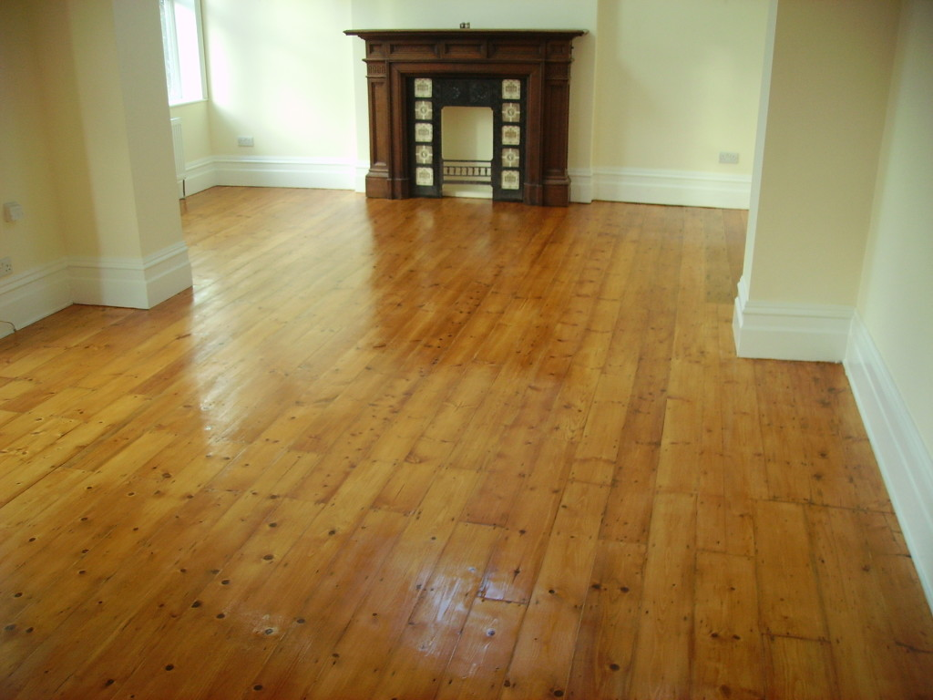 Victorian pine flooring with gaps filled.