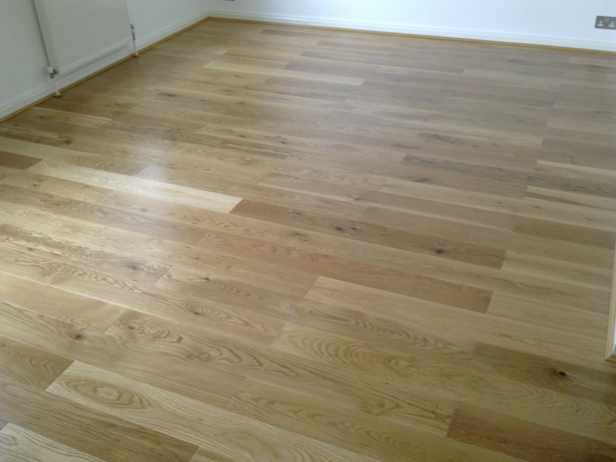 Newly laid solid oak flooring