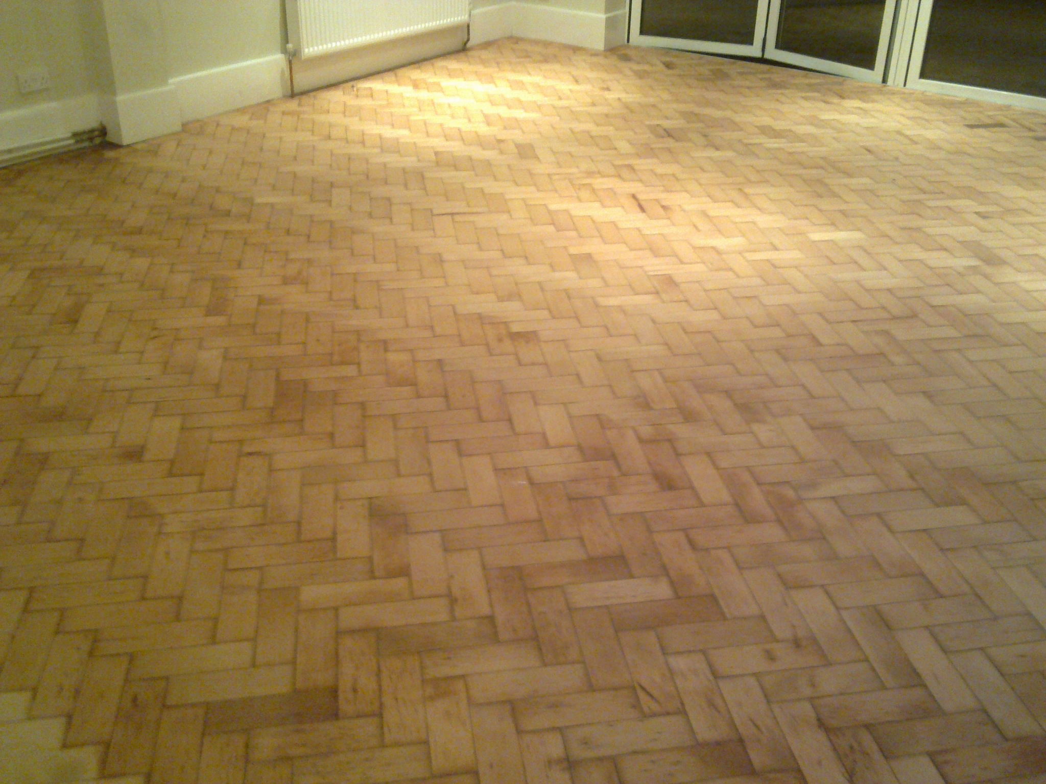 Pitch pine parquet flooring