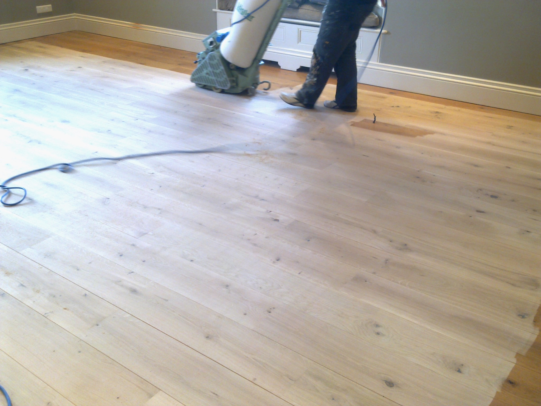 Floor sanding in progress